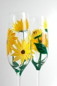Image of Yellow Sunflower Champagne Flutes