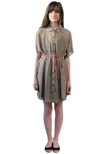 Image of TAUPE BACK-PLEAT TUNIC