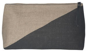 Image of Sasha Large Linen Cosmetic Bag:: Black