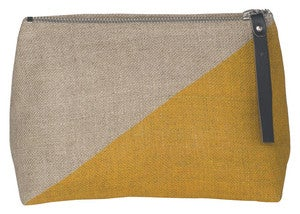 Image of Sasha Small Linen Cosmetic Bag:: Goldenrod