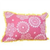 Image of Pink /White Pom Pom Cushion Cover