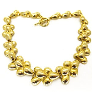 Image of Vintage Gold Tone Bubble Patterned Ornate Collar Necklace