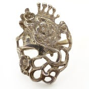 Image of Vintage Art Nouveau Style Queen Silver Floral Woman Ornate Large Ring