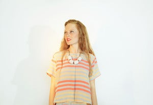 Image of Striped Placket Top