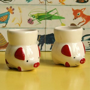 Image of Pair of Vintage PIggy Egg Cups
