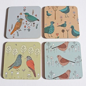 Image of Colourful Birds and Floral Coasters