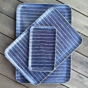 Image of Linen Tray: Navy White Stripe