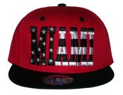 Image of Miami Stars & Bars Script Heat Colorway Snapback Hat Cap