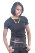 Image of Womans Leather tee blk