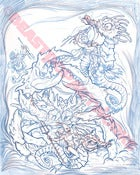 Image of SEA-MONKEY BATTLE original pencil drawing
