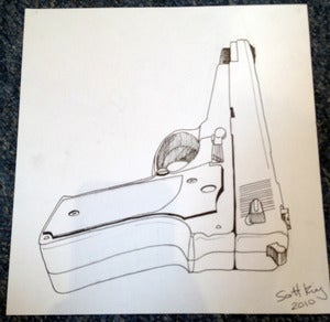 Image of HAND GUN Original Drawing 2010 By Scott King 
