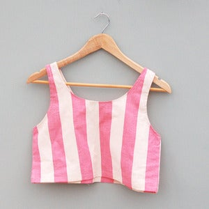 Image of Handmade Pink Candy Stripe Crop Top by Laura Ralph 