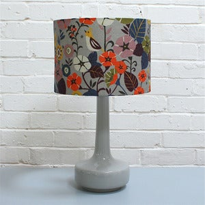 Image of NEW! Bell Bottom Table Lamp in Grey with Nasturtium Shade