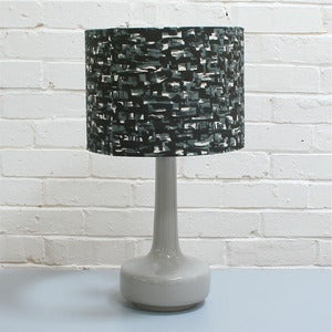 Image of NEW! Bell Bottom Table Lamp in Grey with Vintage Black & White Shade