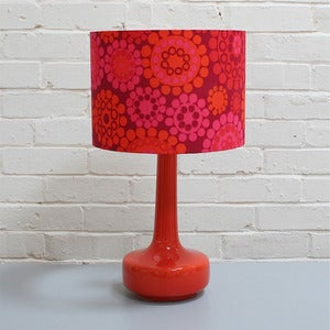 Image of NEW! Bell Bottom Table Lamp in Orange with Vintage Bright Circles Shade