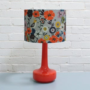 Image of NEW! Bell Bottom Table Lamp in Orange with Nasturtium Shade