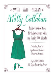 Image of Emerald Green Sweet Sixteen Invitation