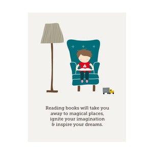 Image of The Magic of Books, Art Print (boys version)