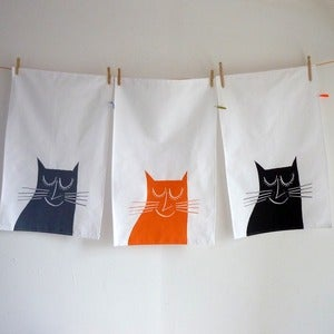 Image of Happy Cat tea towel