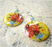 Image of Yellow Picnic - Mexican Oilcloth Inspired Earrings