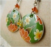 Image of Tropical Green - Mexican Oilcloth Inspired Earrings