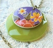 Image of Tropical Purple - A Mexican Oilcloth Inspired Necklace