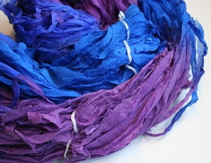 Image of Deep Sea Reclaimed Silk Chiffon Ribbon
