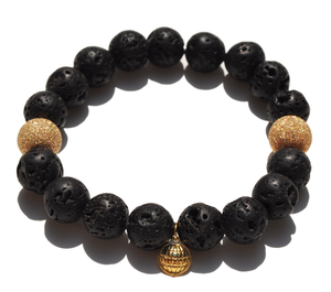 Image of Elastic Brcelet w/ Gold Laser Cut & Lava Rock