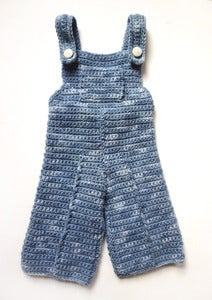 "Image of Hand Knit "" Blue Jean"" Overalls, Toddler sz. 1.5-2y.0."