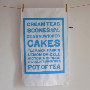 Image of Cream Teas tea towel - sky blue
