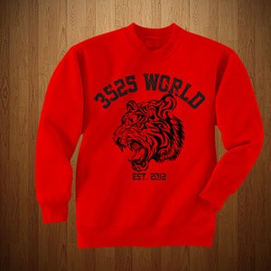 "Image of 3525 WORLD ""CREWNECK"" RED AND BLACK"