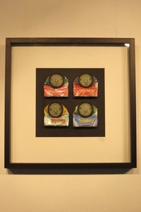 "Image of ""Campbell's-Eyes Closed"" 4 framed can-men on ltd edition Warhol Campbell's soup cans by Mydogsighs"