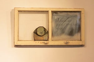 "Image of ""Please send me anything but signals that are mixed"" can man in reclaimed window frame by Mydogsighs"