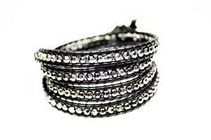 Image of GUNMETAL Leather Wrap Bracelet