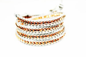 Image of PRUSSIAN AND ROSE GOLD Leather Wrap