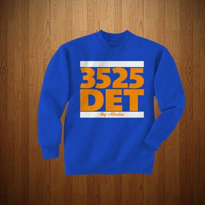 "Image of 3525 ""DET"" EDITION CREWNECK- ROYAL BLUE & ORANGE"