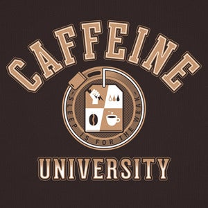 "Image of ""Caffeine University"" - Dark Chocolate & Navy Blue tee"
