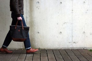 Image of The Helmet Bag : Selvage denim and Italian vegetable dyed leather
