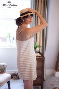 Image of Jackie O Dress (beige stripe)