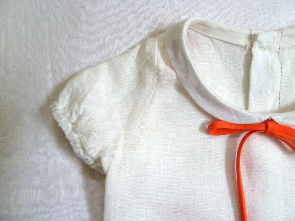 Image of White Linen Peter Pan Collar Blouse with Mother of Pearl Buttons