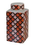 Image of Pink & Orange Ceramic Covered Jar