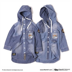 Image of Filter017 B.S.F. STONE-WASH DENIM HOODED SHIRTS