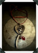 Image of Metallic Silver 'Stag ♥ Heart' Pendant~!