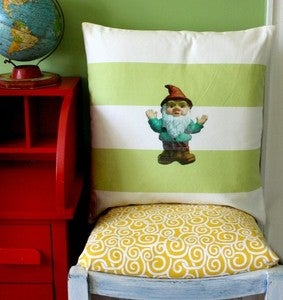 Image of lime green and white stripe Sunbrella pillow with Gnome